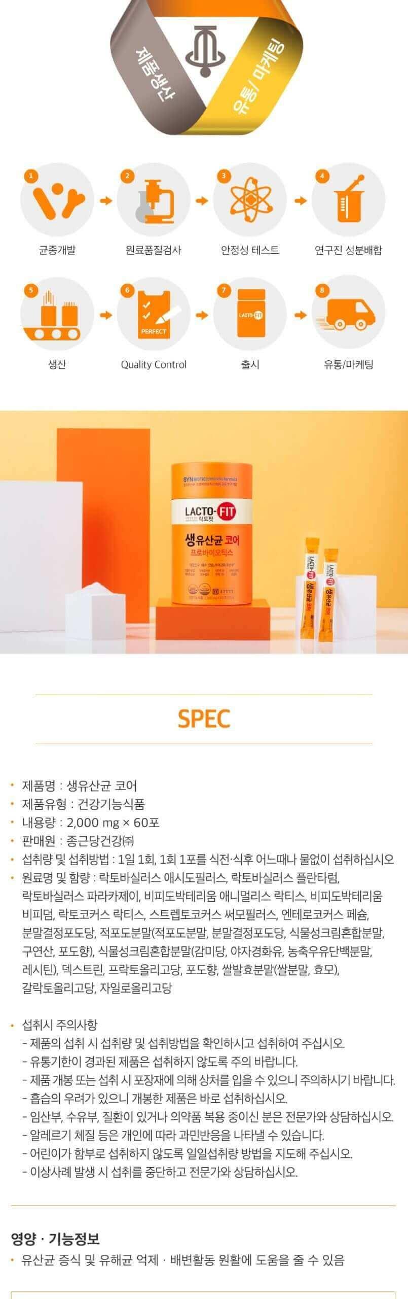 韓國食品-[Chongkundang] Premium Lacto-Fit [Core]2g*60p