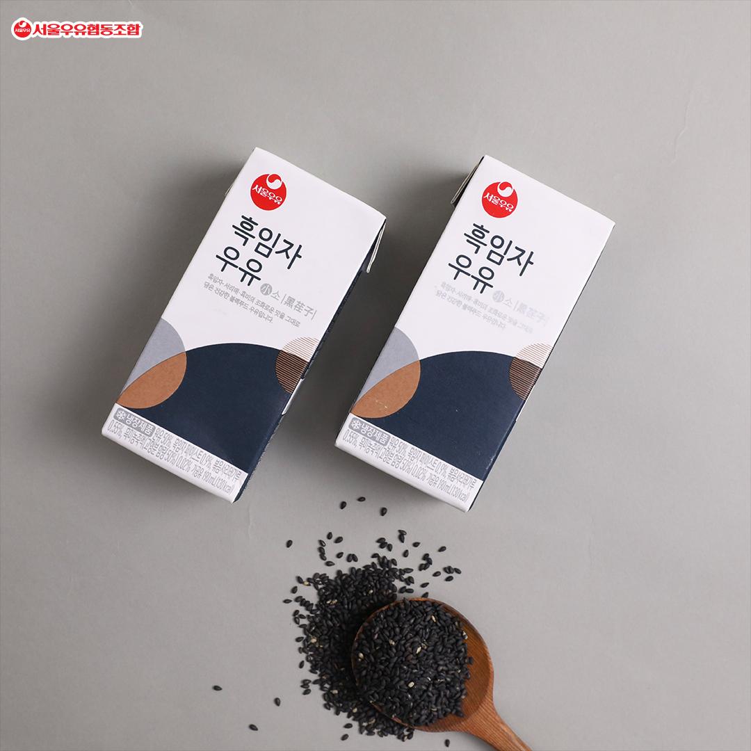 韓國食品-[Seoul Milk] Black Sesame Milk 190mL