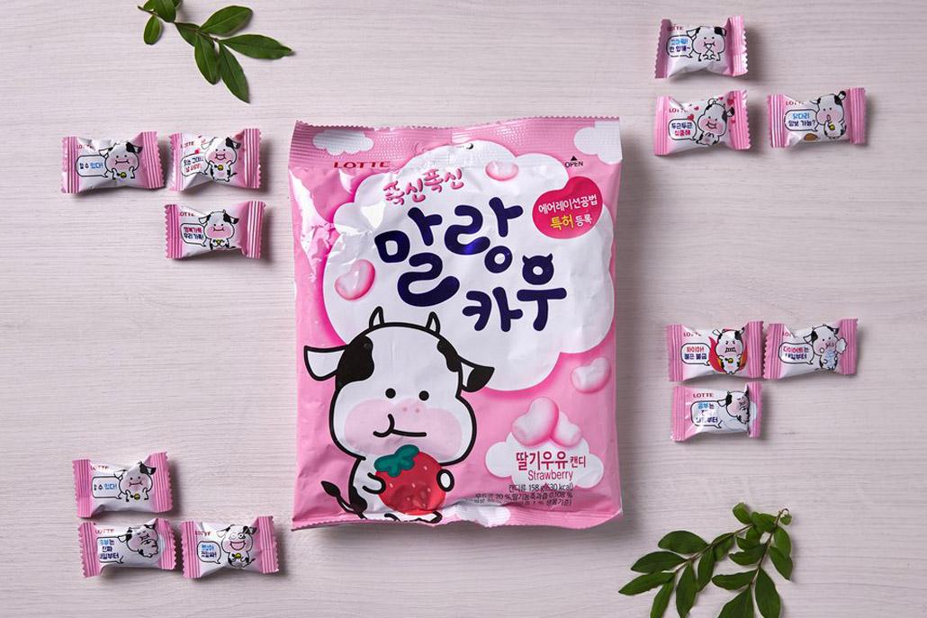 韓國食品-[Lotte] Malang Cow Candy [Strawberry] 79g