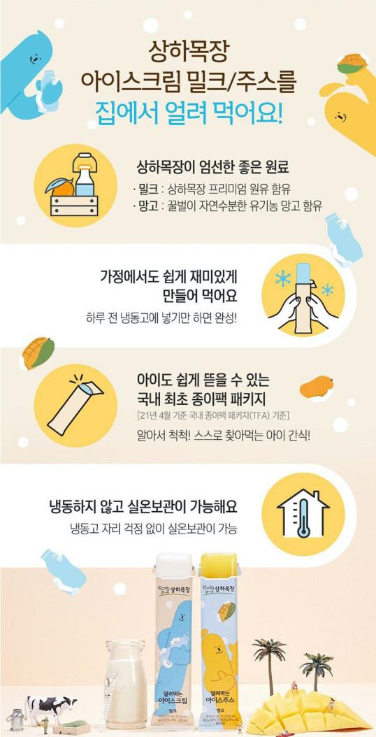 韓國食品-[Sangha Farm] Frozen Ice Cream [Milk] 85mL*6pcs (Kept in Room temperature)