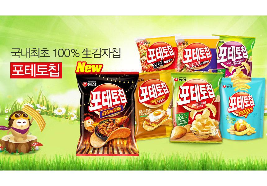 韓國食品-[Nongsim] Potato Chip Intestines Hotty 60g